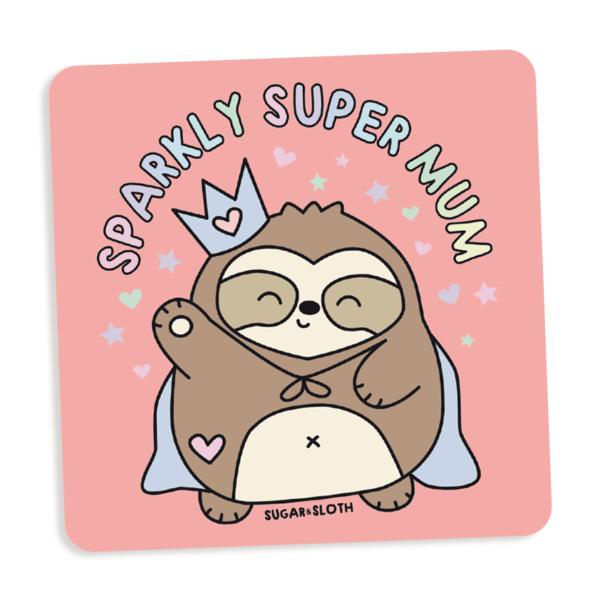 sparkly super mum coaster