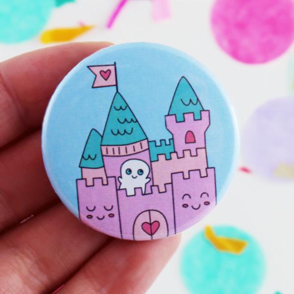 dreamy kawaii castle button badge