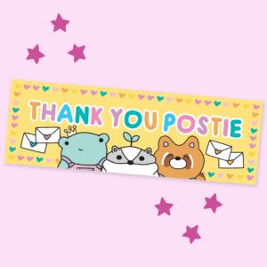 cute kawaii thank you postie letter box sticker