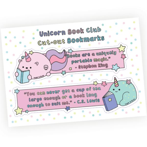 Unicorn book club postcard