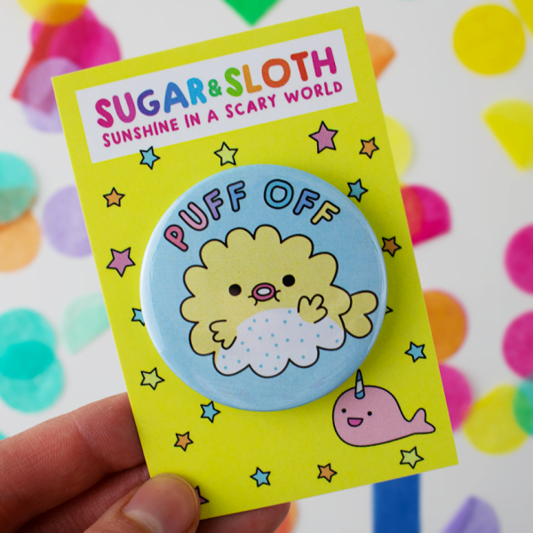 puff off puffer fish button badge